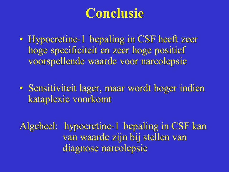 Conclusie Hypocretine-1 bepaling in CSF heeft zeer hoge specificiteit en zeer hoge positief voorspellende waarde voor narcolepsie Sensitiviteit lager,