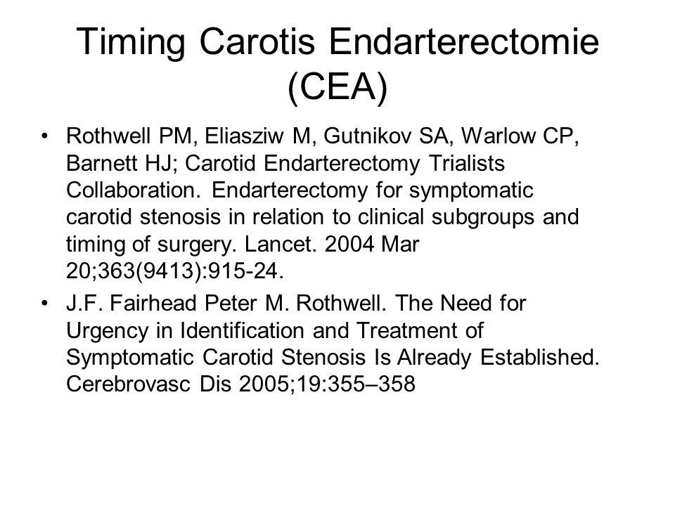 Rothwell PM, Eliasziw M, Gutnikov SA, Warlow CP, Barnett HJ; Carotid Endarterectomy Trialists Collaboration. Endarterectomy for symptomatic carotid st