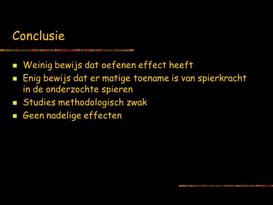 Conclusie Weinig bewijs dat oefenen effect heeft Enig bewijs dat er matige toename is van spierkracht in de onderzochte spieren Studies methodologisch zwak Geen nadelige effecten