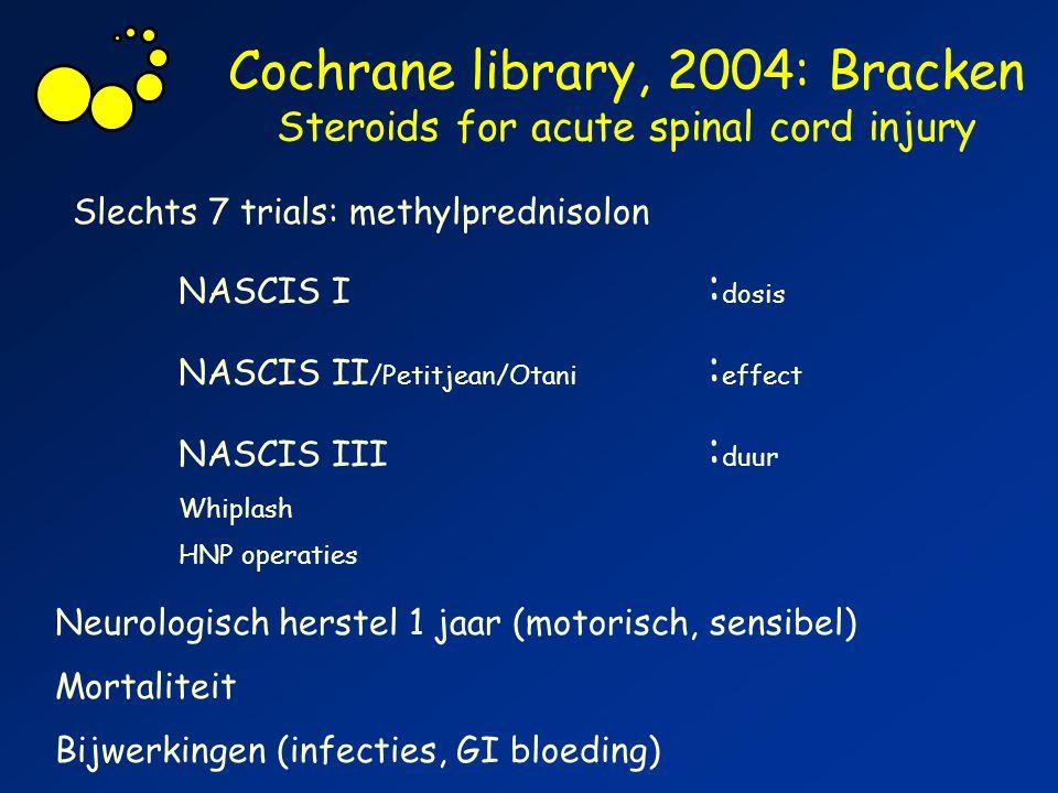 Cochrane library, 2004: Bracken Steroids for acute spinal cord injury Slechts 7 trials: methylprednisolon NASCIS I : dosis NASCIS II /Petitjean/Otani