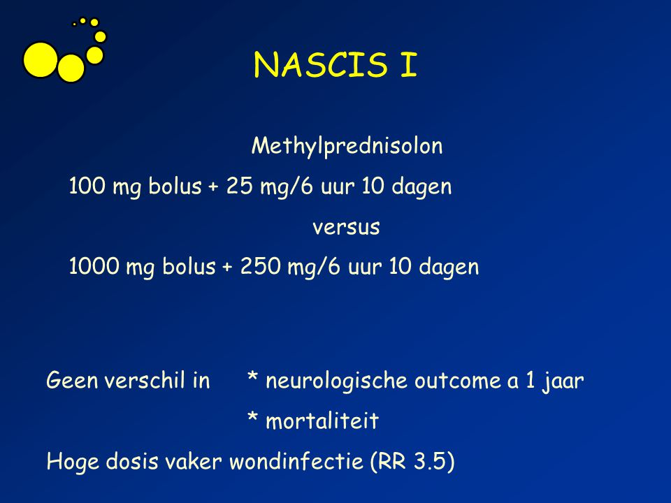 NASCIS I Methylprednisolon 100 mg bolus + 25 mg/6 uur 10 dagen versus 1000 mg bolus + 250 mg/6 uur 10 dagen Geen verschil in * neurologische outcome a