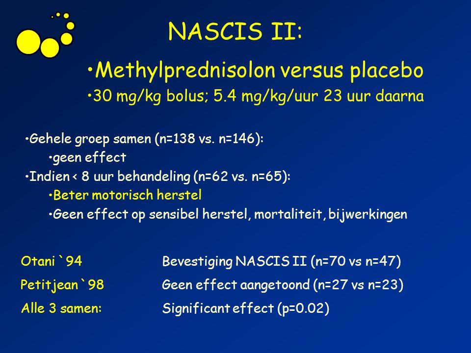 NASCIS II: Otani `94Bevestiging NASCIS II (n=70 vs n=47) Petitjean `98Geen effect aangetoond (n=27 vs n=23) Alle 3 samen:Significant effect (p=0.02) M