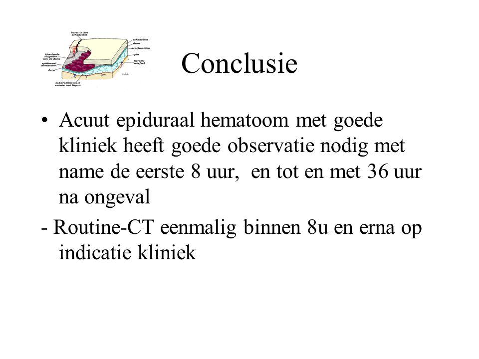 Conclusie Acuut epiduraal hematoom met goede kliniek heeft goede observatie nodig met name de eerste 8 uur, en tot en met 36 uur na ongeval - Routine-
