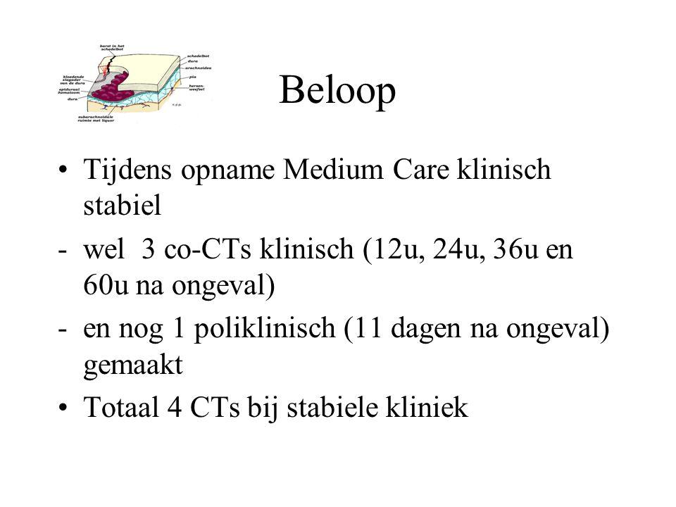 Beloop Tijdens opname Medium Care klinisch stabiel -wel 3 co-CTs klinisch (12u, 24u, 36u en 60u na ongeval) -en nog 1 poliklinisch (11 dagen na ongeva