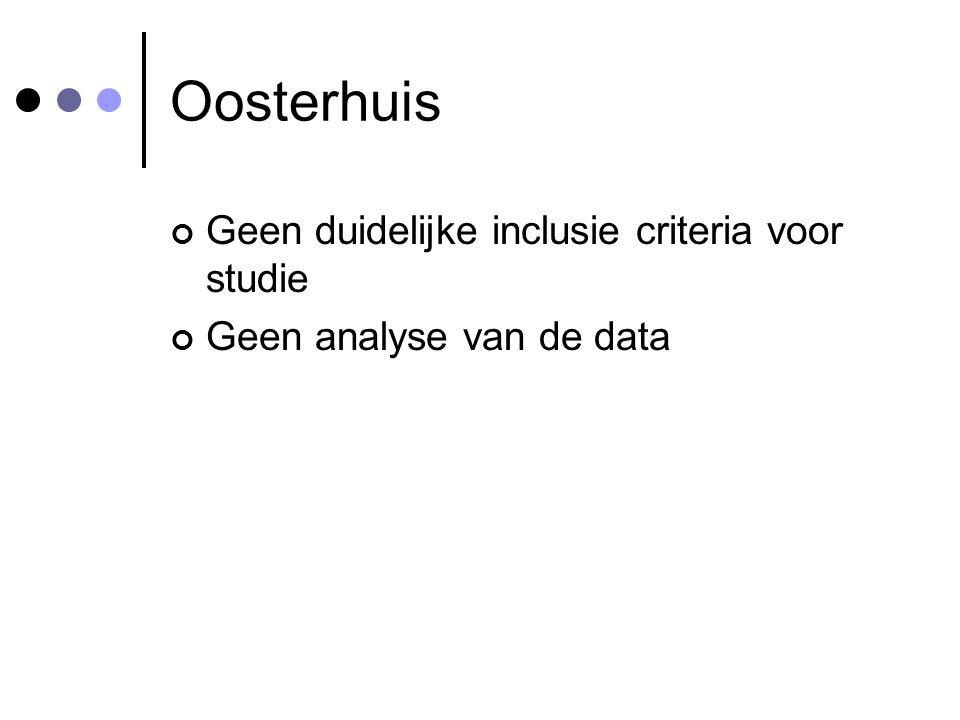 Oosterhuis Geen duidelijke inclusie criteria voor studie Geen analyse van de data