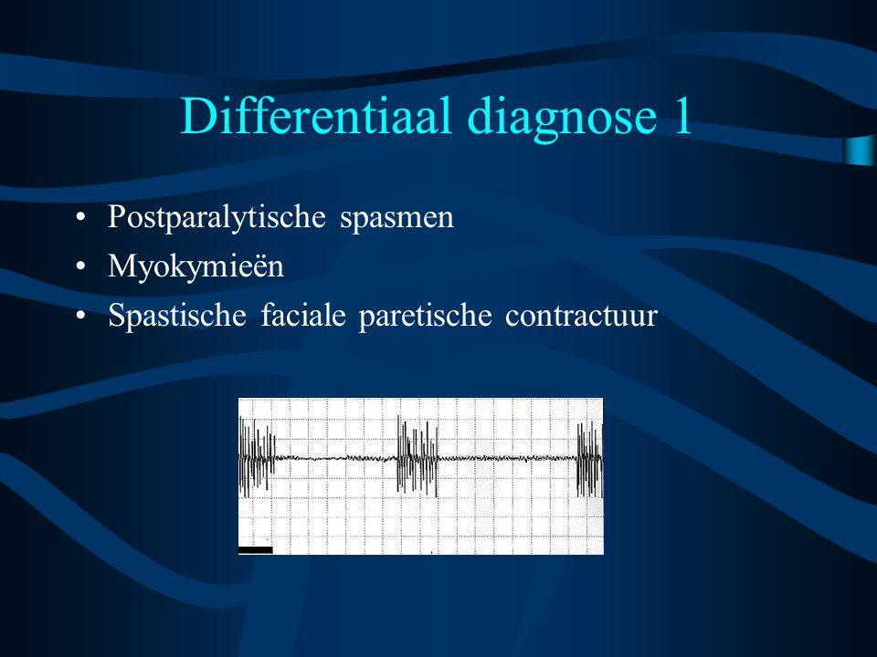 Differentiaal diagnose 1 Postparalytische spasmen Myokymieën Spastische faciale paretische contractuur