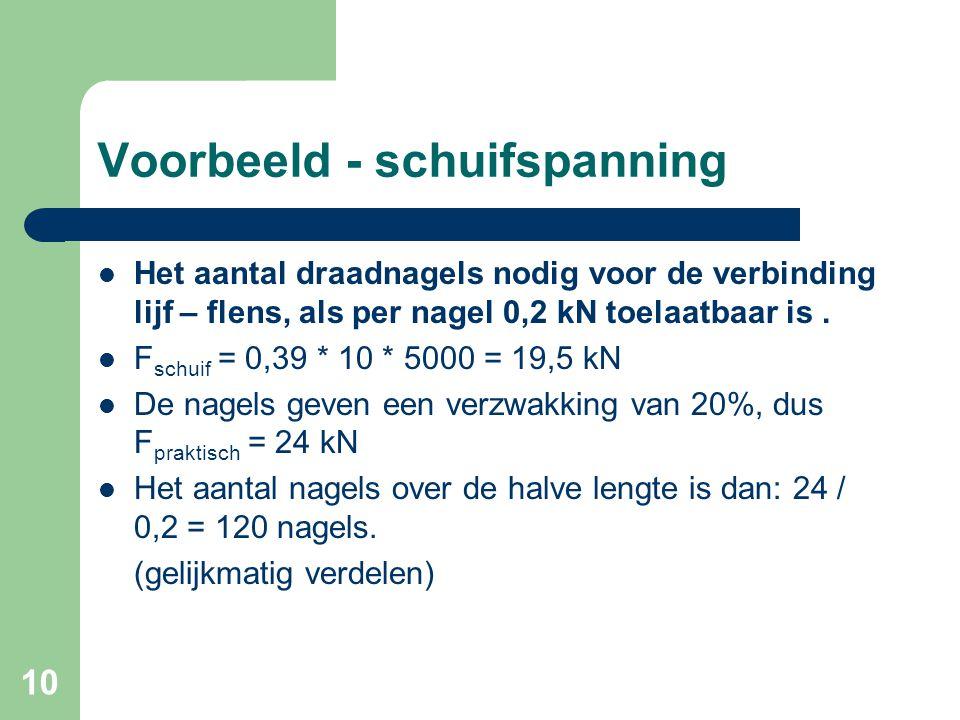 10 Voorbeeld - schuifspanning Het aantal draadnagels nodig voor de verbinding lijf – flens, als per nagel 0,2 kN toelaatbaar is. F schuif = 0,39 * 10