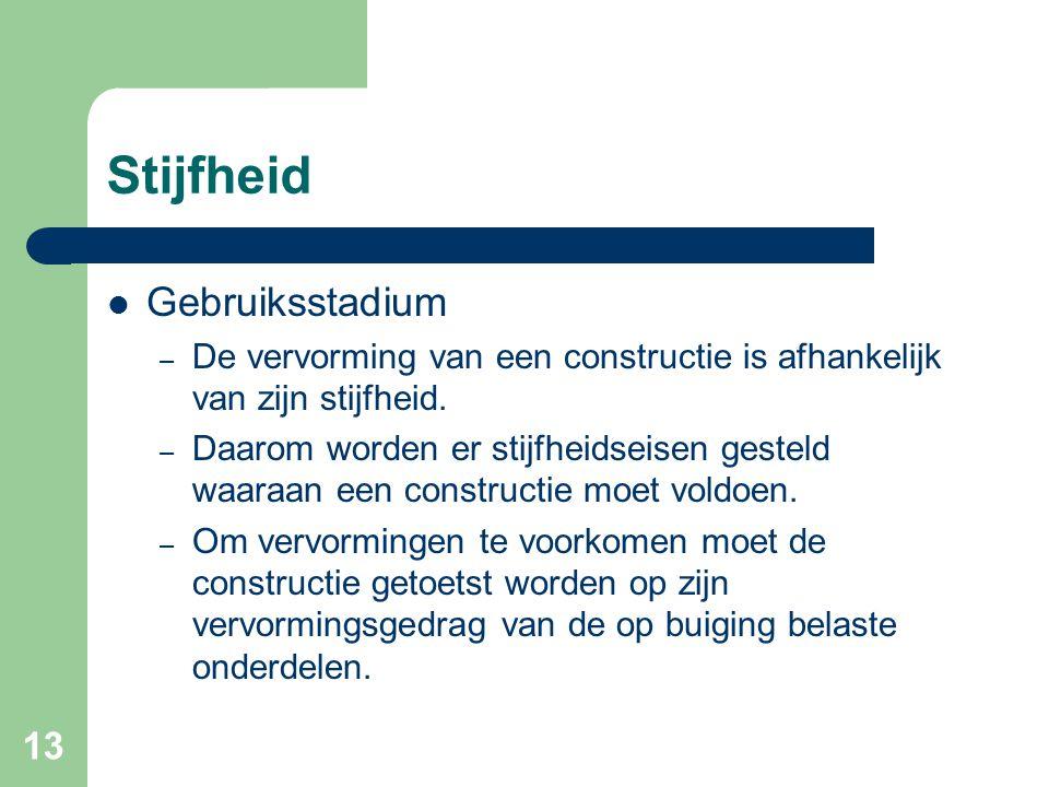 13 Stijfheid Gebruiksstadium – De vervorming van een constructie is afhankelijk van zijn stijfheid. – Daarom worden er stijfheidseisen gesteld waaraan