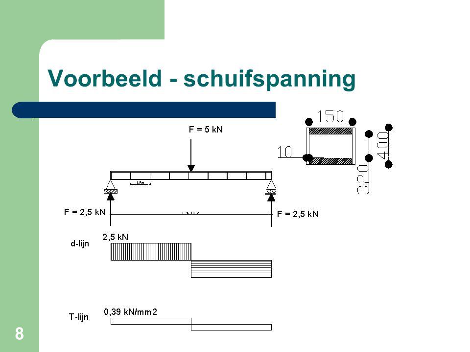 9 Controleer de schuifspanning in de lijfplaten van het boven weergegeven samengesteld profiel.