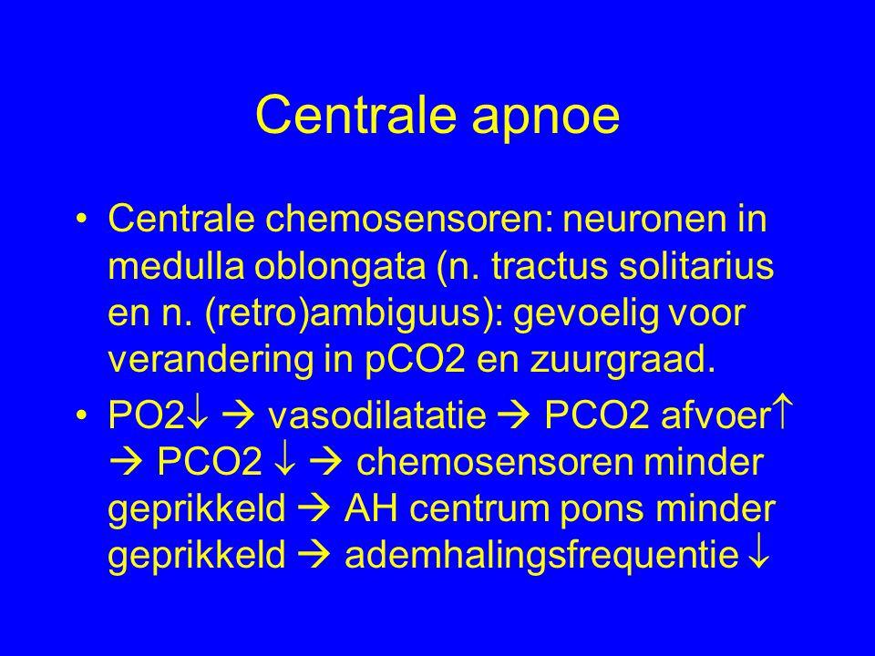 Centrale apnoe Centrale chemosensoren: neuronen in medulla oblongata (n.