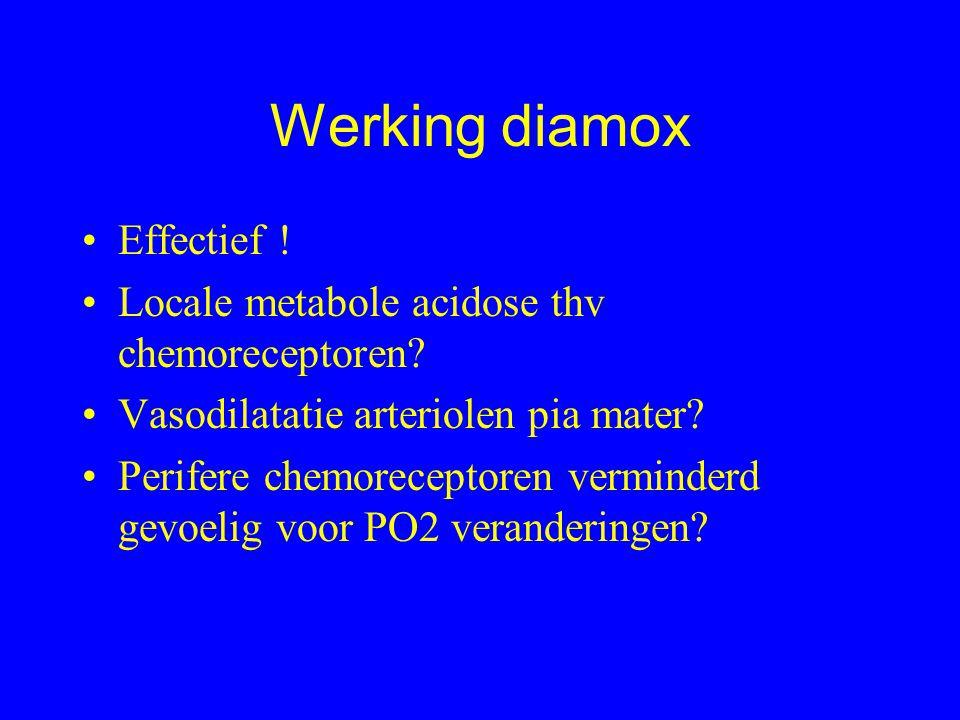 Werking diamox Effectief . Locale metabole acidose thv chemoreceptoren.