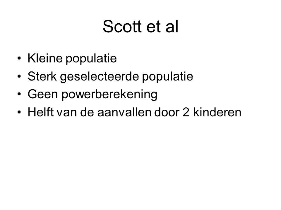 Scott et al Kleine populatie Sterk geselecteerde populatie Geen powerberekening Helft van de aanvallen door 2 kinderen