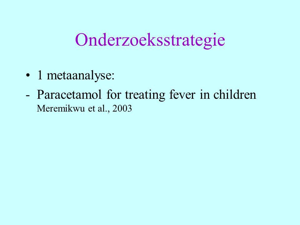 Ibuprofen Studie van Stuijvenberg et al., 1998: - Studie groep: 230 kinderen a.Ibuprofen (n= 111) b.Placebo (n=119) - Studie design: gerandomiseerde dubbel blind placebo gecontroleerd trial - Uitkomst: aantal recidief koortsstuipen (FS)