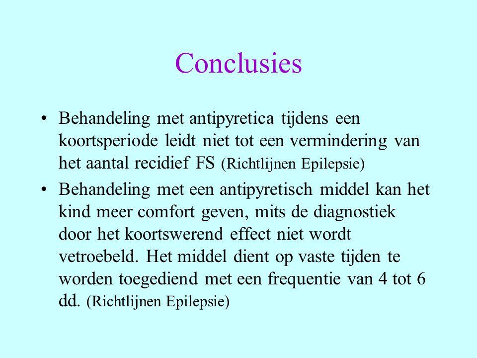 Conclusies Behandeling met antipyretica tijdens een koortsperiode leidt niet tot een vermindering van het aantal recidief FS (Richtlijnen Epilepsie) B