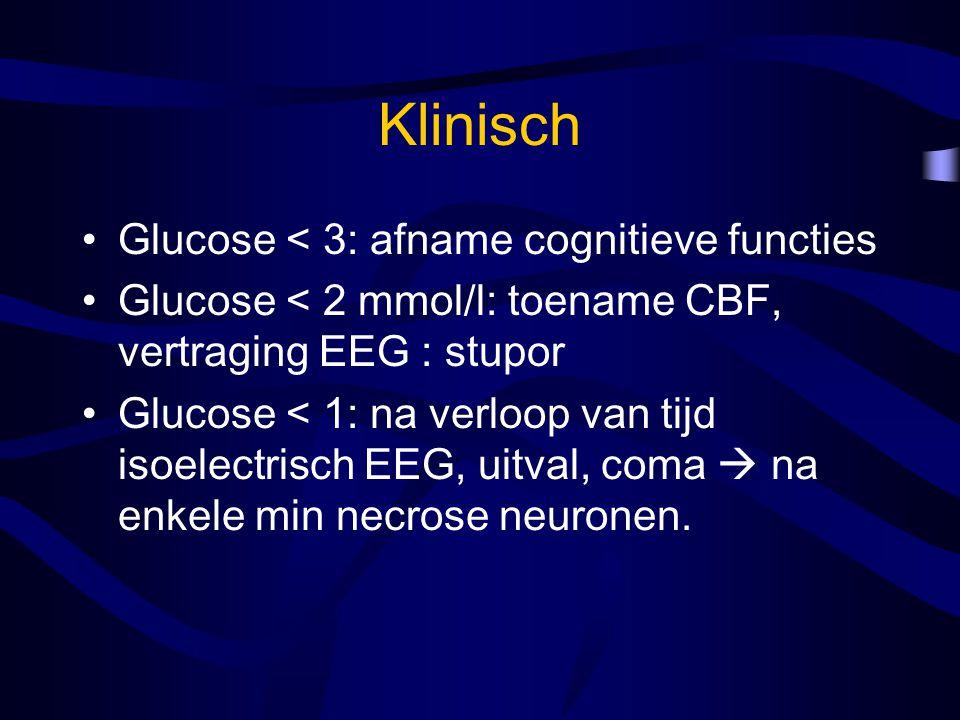 Klinisch Glucose < 3: afname cognitieve functies Glucose < 2 mmol/l: toename CBF, vertraging EEG : stupor Glucose < 1: na verloop van tijd isoelectrisch EEG, uitval, coma  na enkele min necrose neuronen.