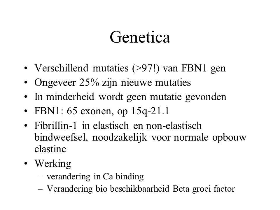 Genetica Verschillend mutaties (>97!) van FBN1 gen Ongeveer 25% zijn nieuwe mutaties In minderheid wordt geen mutatie gevonden FBN1: 65 exonen, op 15q