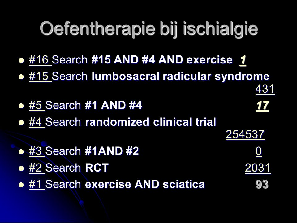 Oefentherapie bij ischialgie Gezocht in PubMed en Cochrane Review Gezocht in PubMed en Cochrane Review PubMed: 17 hits waarvan PubMed: 17 hits waarvan 1 nieuw onderzoeksplan 1 nieuw onderzoeksplan 5 verwijzen/samenhangen met Cochrane review 5 verwijzen/samenhangen met Cochrane review 11 onbruikbaar 11 onbruikbaar 1 Cochrane review: 1 Cochrane review: The editorial group responsible for this previously published document have withdrawn it from publication.