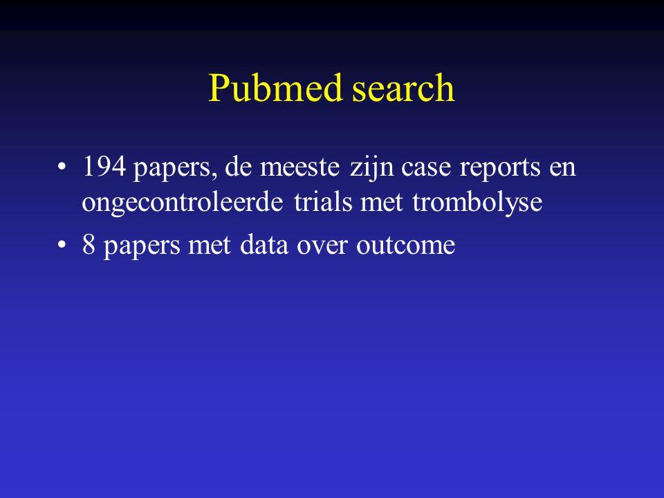 Pubmed search 194 papers, de meeste zijn case reports en ongecontroleerde trials met trombolyse 8 papers met data over outcome
