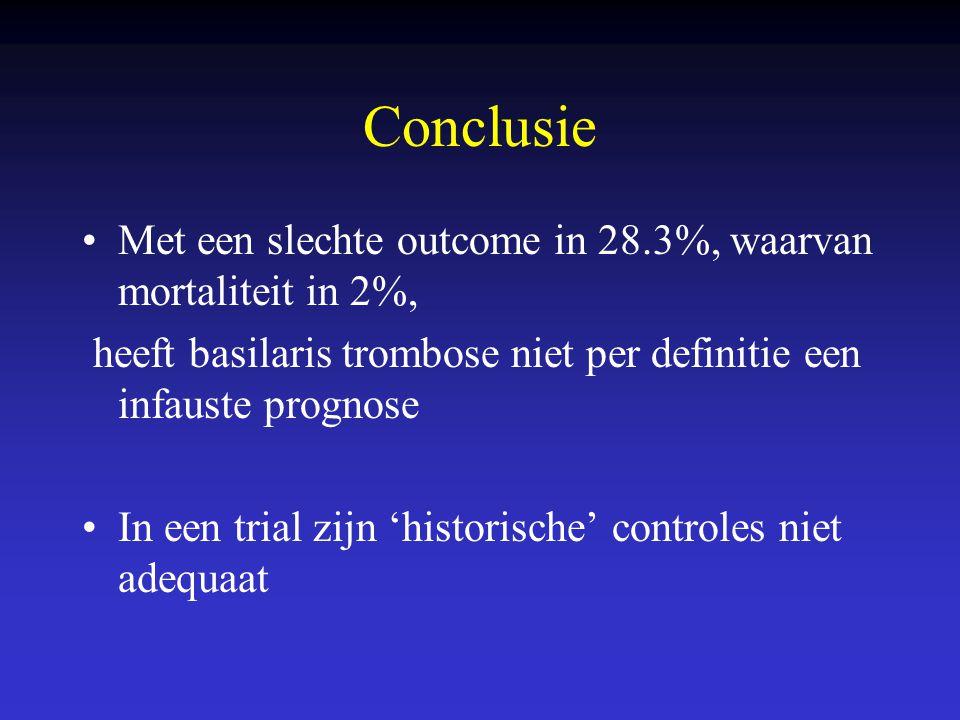 Conclusie Met een slechte outcome in 28.3%, waarvan mortaliteit in 2%, heeft basilaris trombose niet per definitie een infauste prognose In een trial