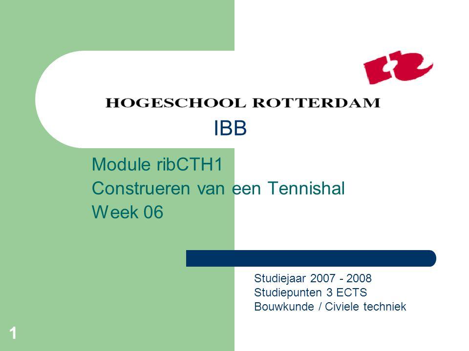 1 Module ribCTH1 Construeren van een Tennishal Week 06 Studiejaar 2007 - 2008 Studiepunten 3 ECTS Bouwkunde / Civiele techniek IBB