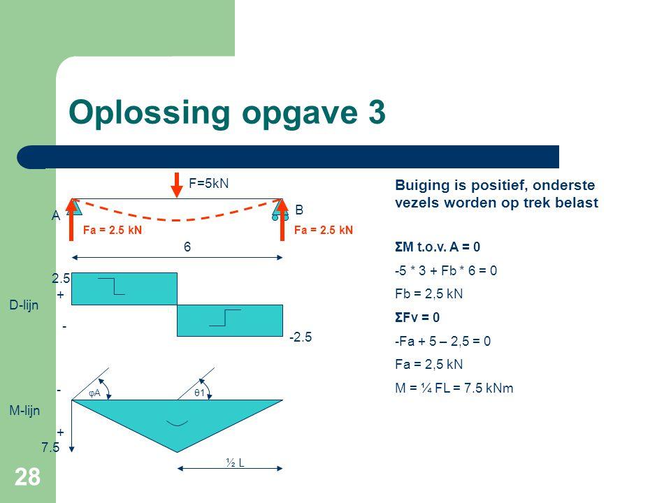 28 Oplossing opgave 3 θ1θ1 ½ L φAφA 6 A F=5kN B ΣM t.o.v. A = 0 -5 * 3 + Fb * 6 = 0 Fb = 2,5 kN ΣFv = 0 -Fa + 5 – 2,5 = 0 Fa = 2,5 kN M = ¼ FL = 7.5 k