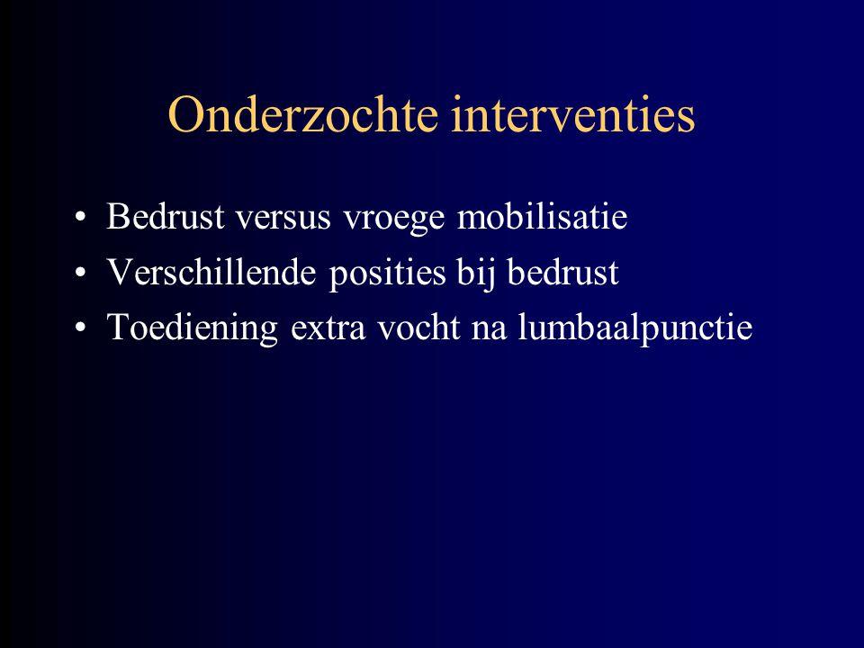 Uitkomstmaat Postpunctionele hoofdpijn –Verergerend bij overeindkomen –Verminderend in ernst bij platliggen