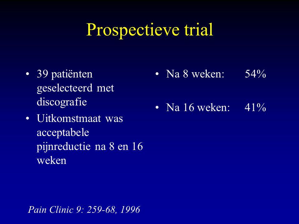Prospectieve trial 39 patiënten geselecteerd met discografie Uitkomstmaat was acceptabele pijnreductie na 8 en 16 weken Na 8 weken: 54% Na 16 weken:41% Pain Clinic 9: 259-68, 1996