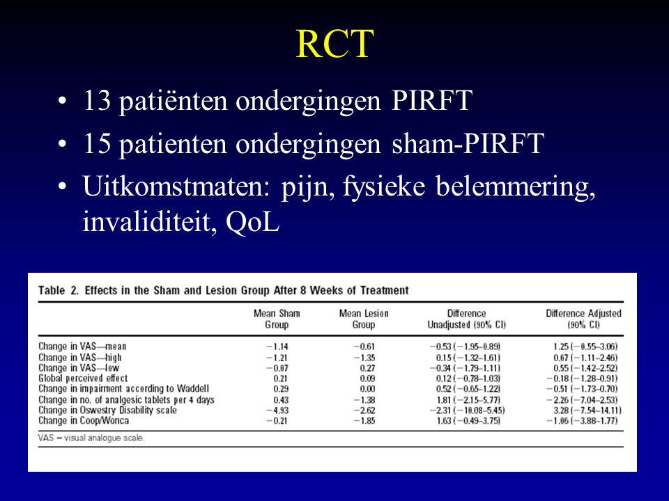 RCT 13 patiënten ondergingen PIRFT 15 patienten ondergingen sham-PIRFT Uitkomstmaten: pijn, fysieke belemmering, invaliditeit, QoL