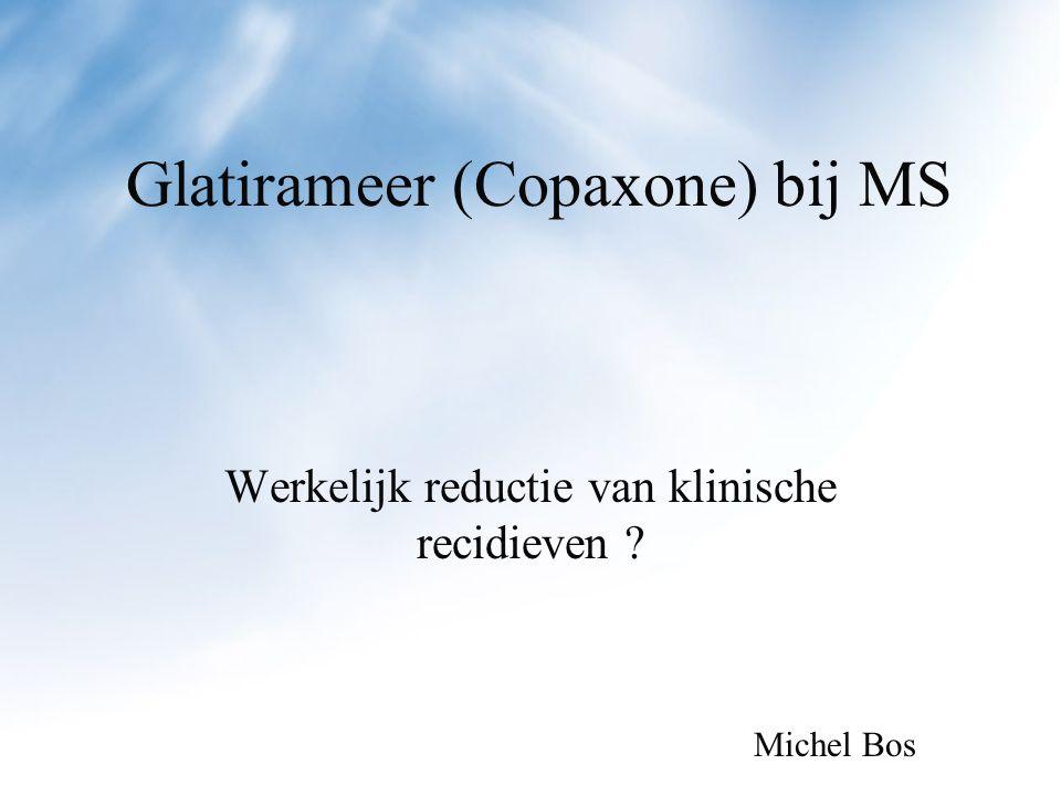 Conclusie Geen duidelijk effect van glatirameer op de klinische conditie van RR MS patienten in de tijd.