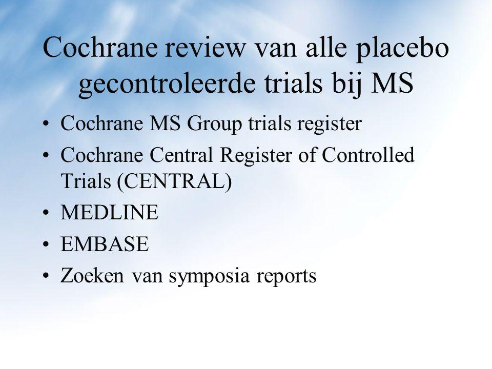 Selectie criteria Alle RCTs waarin glatirameer met placebo werd vergeleken bij zekere MS, ongeacht MS-type en doseerschema.