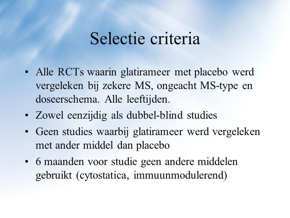 Data analyse Tussen de studies goed vergelijkbare inclusie en exclusie criteria Methodologisch goede studies Soms blindering niet altijd betrouwbaar door reactie op injectieplaats