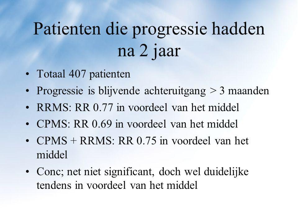 Patienten die progressie hadden na 2 jaar