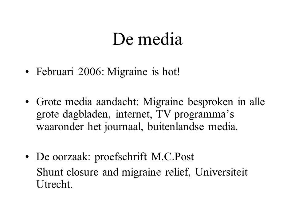 Literatuur: ASD Zelfde opzet als vorig artikel Resultaten: –75 van 114 vragenlijsten retour –MA+: 19% voor sluiting  12% na sluiting: p=0.18 –MA-: 11% voor sluiting  15% na sluiting: p=0.55 –Bij 12 patienten verdween migraine, bij 10 ontstond migraine –Significante afname frequentie migraine K.