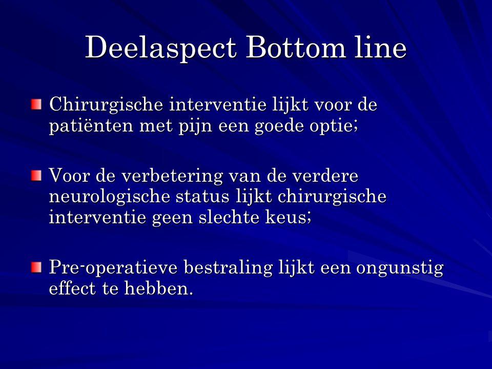 Deelaspect Bottom line Chirurgische interventie lijkt voor de patiënten met pijn een goede optie; Voor de verbetering van de verdere neurologische sta