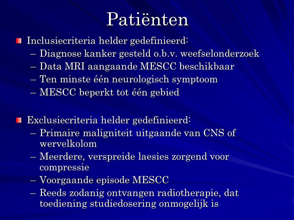 Patiënten Inclusiecriteria helder gedefinieerd: –Diagnose kanker gesteld o.b.v. weefselonderzoek –Data MRI aangaande MESCC beschikbaar –Ten minste één