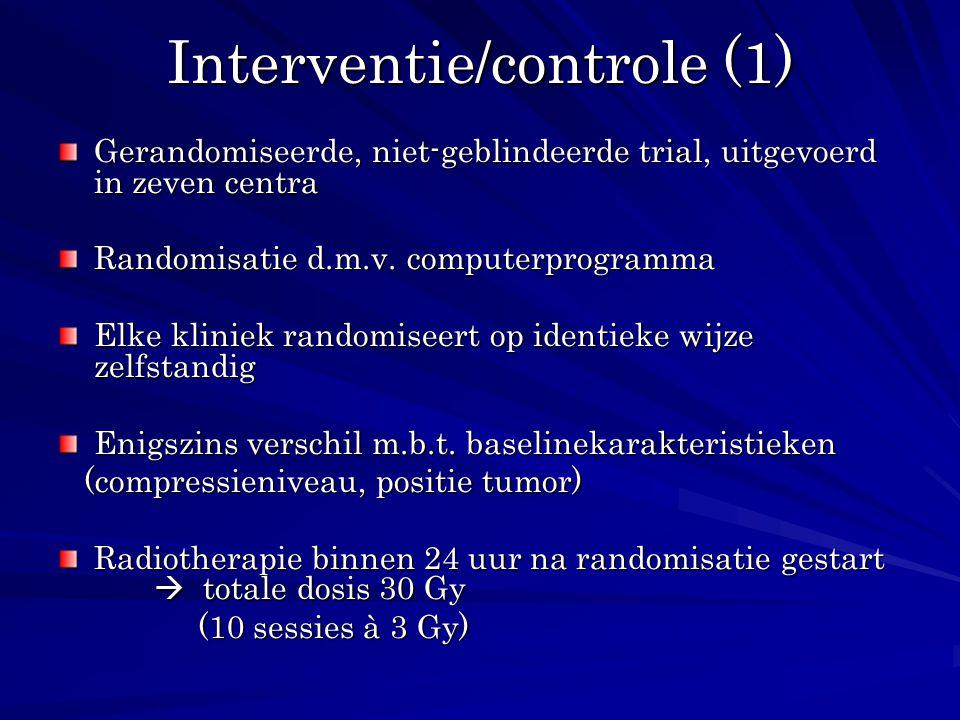 Interventie/controle (1) Gerandomiseerde, niet-geblindeerde trial, uitgevoerd in zeven centra Randomisatie d.m.v. computerprogramma Elke kliniek rando