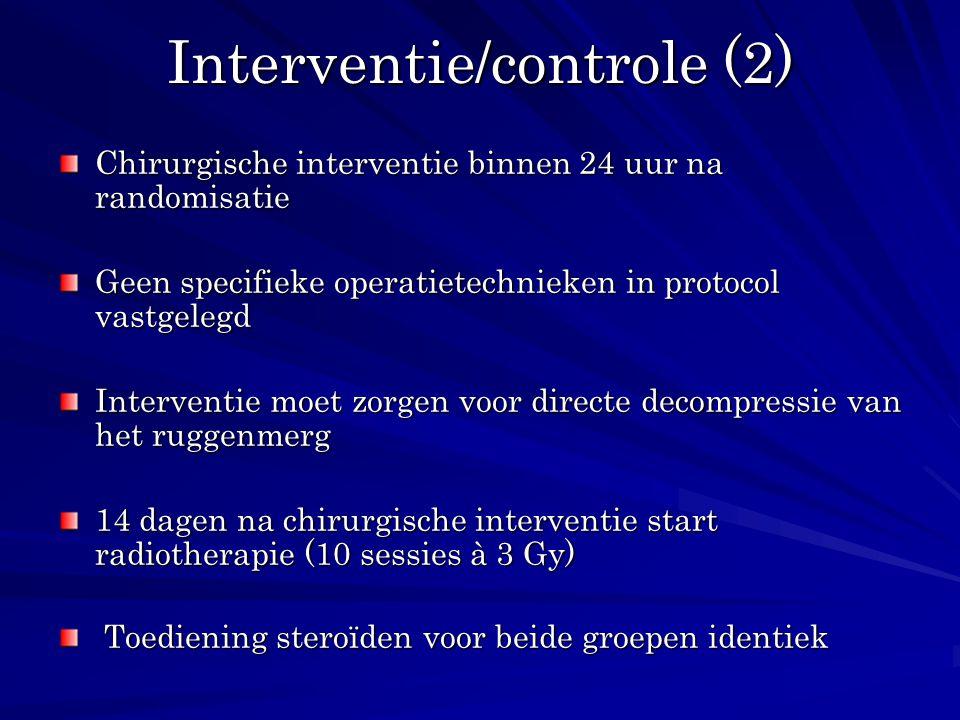 Interventie/controle (2) Chirurgische interventie binnen 24 uur na randomisatie Geen specifieke operatietechnieken in protocol vastgelegd Interventie