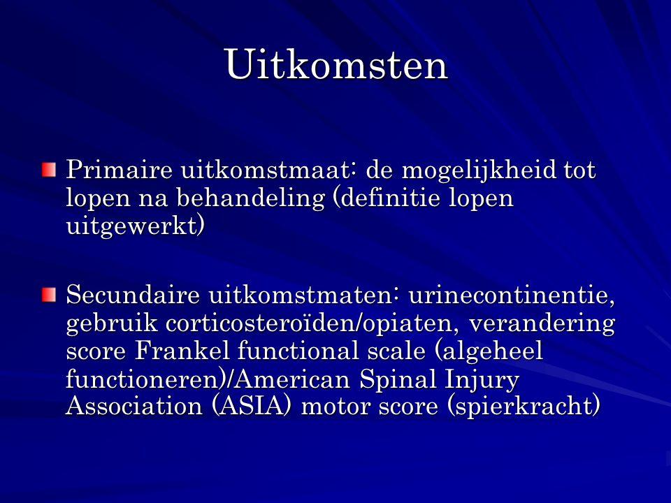 Uitkomsten Primaire uitkomstmaat: de mogelijkheid tot lopen na behandeling (definitie lopen uitgewerkt) Secundaire uitkomstmaten: urinecontinentie, ge