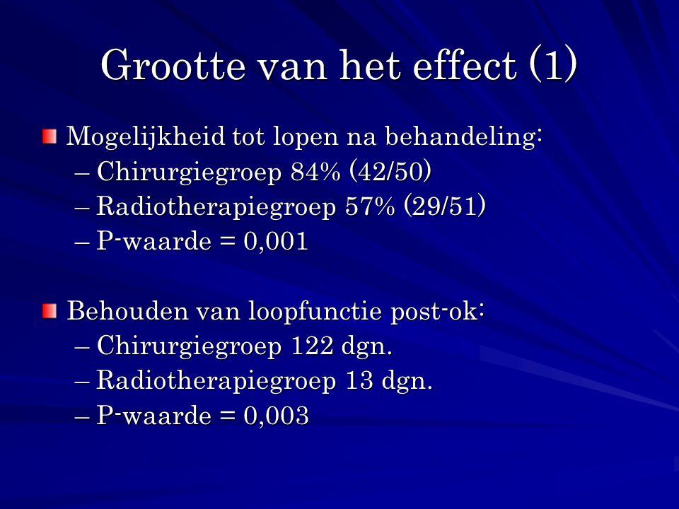 Grootte van het effect (1) Mogelijkheid tot lopen na behandeling: –Chirurgiegroep 84% (42/50) –Radiotherapiegroep 57% (29/51) –P-waarde = 0,001 Behoud