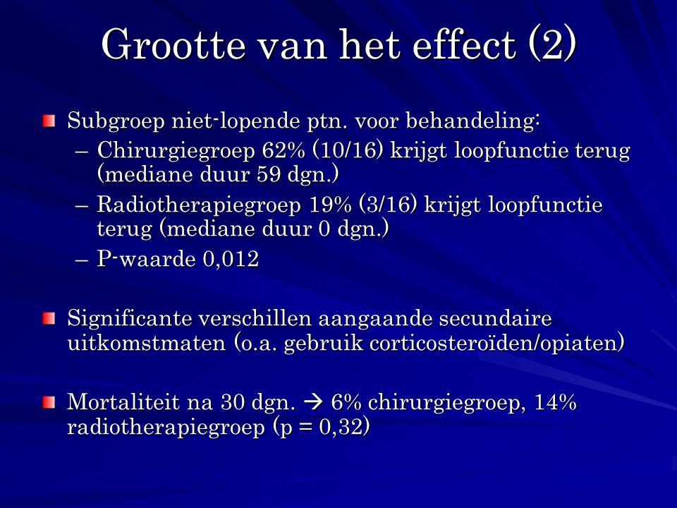 Grootte van het effect (2) Subgroep niet-lopende ptn. voor behandeling: –Chirurgiegroep 62% (10/16) krijgt loopfunctie terug (mediane duur 59 dgn.) –R