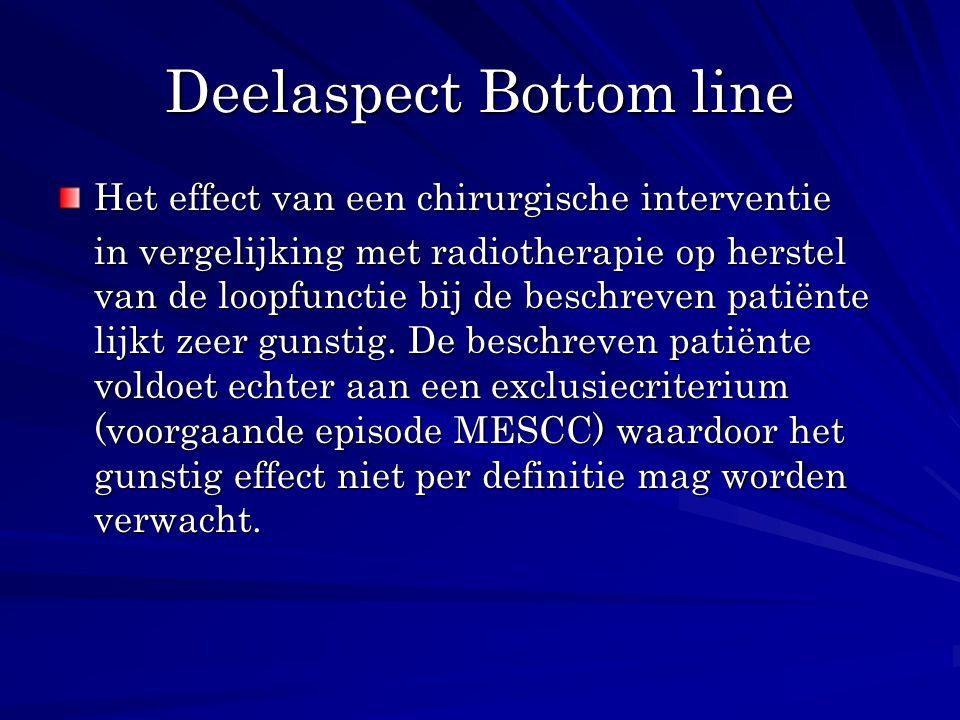Deelaspect Bottom line Het effect van een chirurgische interventie in vergelijking met radiotherapie op herstel van de loopfunctie bij de beschreven p