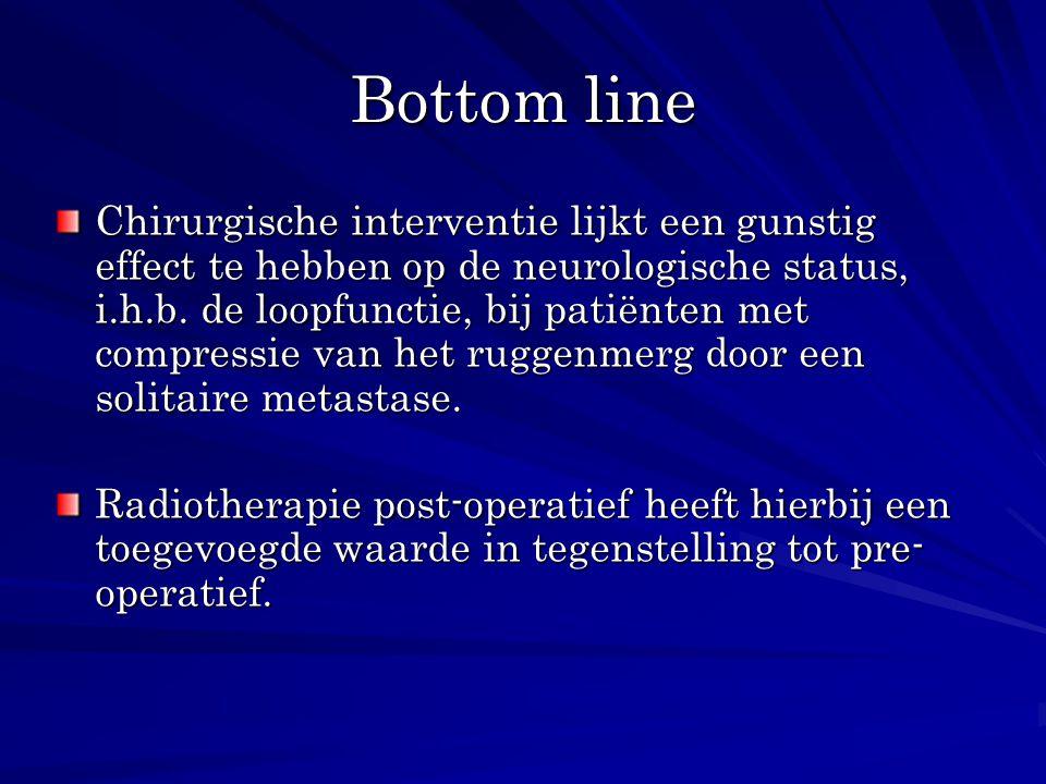 Bottom line Chirurgische interventie lijkt een gunstig effect te hebben op de neurologische status, i.h.b. de loopfunctie, bij patiënten met compressi