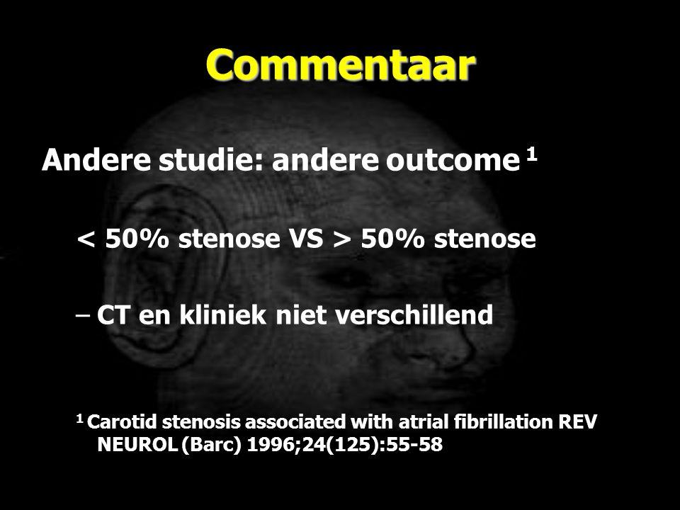 Commentaar Andere studie: andere outcome 1 50% stenose –CT en kliniek niet verschillend 1 Carotid stenosis associated with atrial fibrillation REV NEU