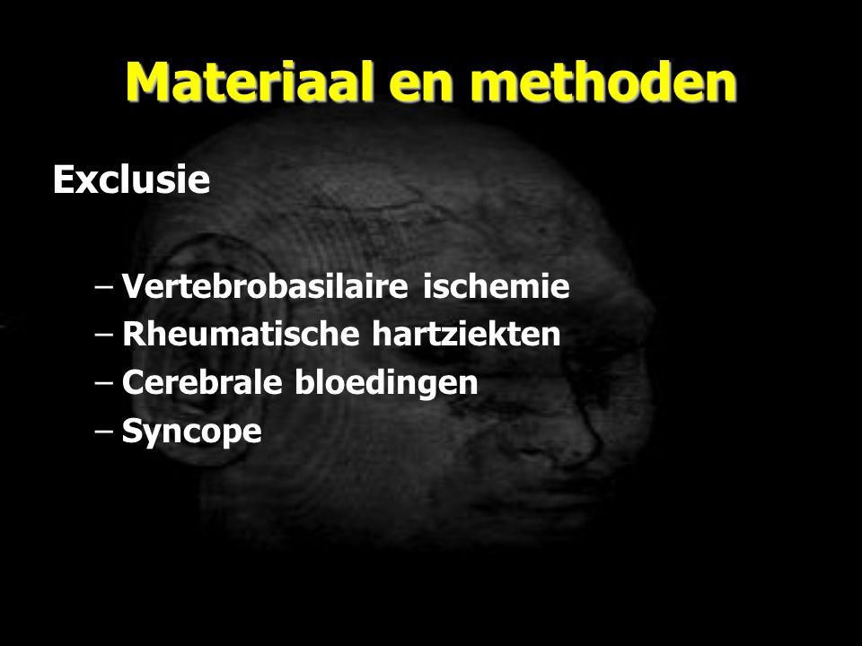 Materiaal en methoden Exclusie –Vertebrobasilaire ischemie –Rheumatische hartziekten –Cerebrale bloedingen –Syncope