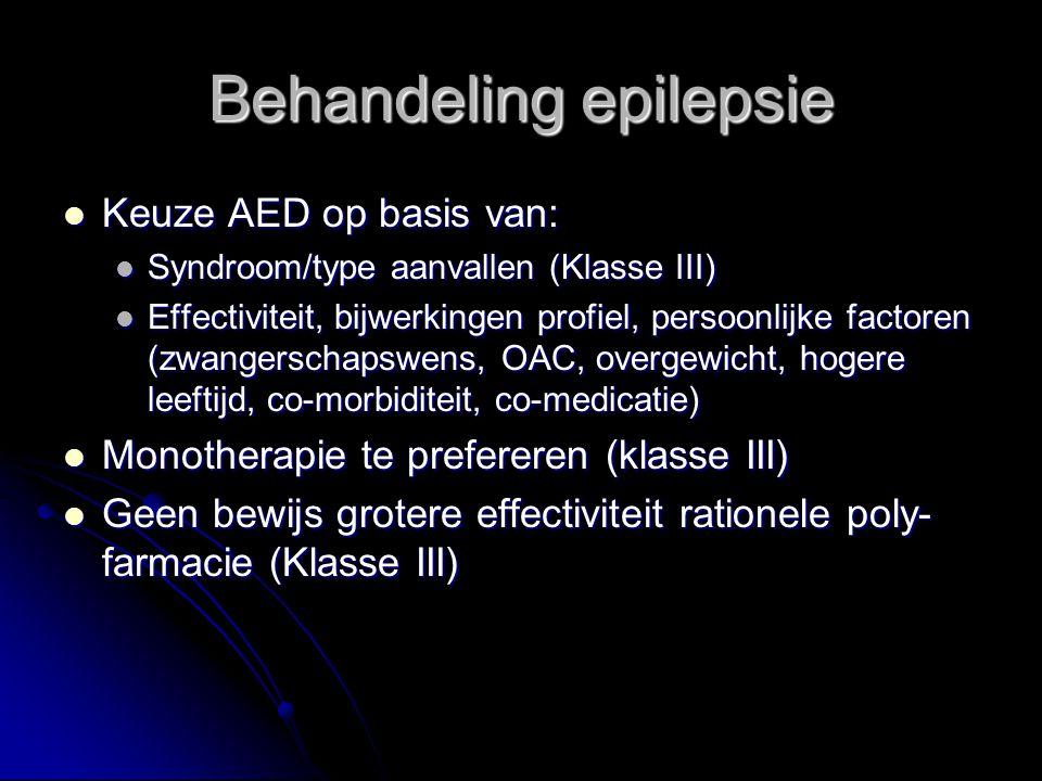 Keuze AED op basis van: Keuze AED op basis van: Syndroom/type aanvallen (Klasse III) Syndroom/type aanvallen (Klasse III) Effectiviteit, bijwerkingen