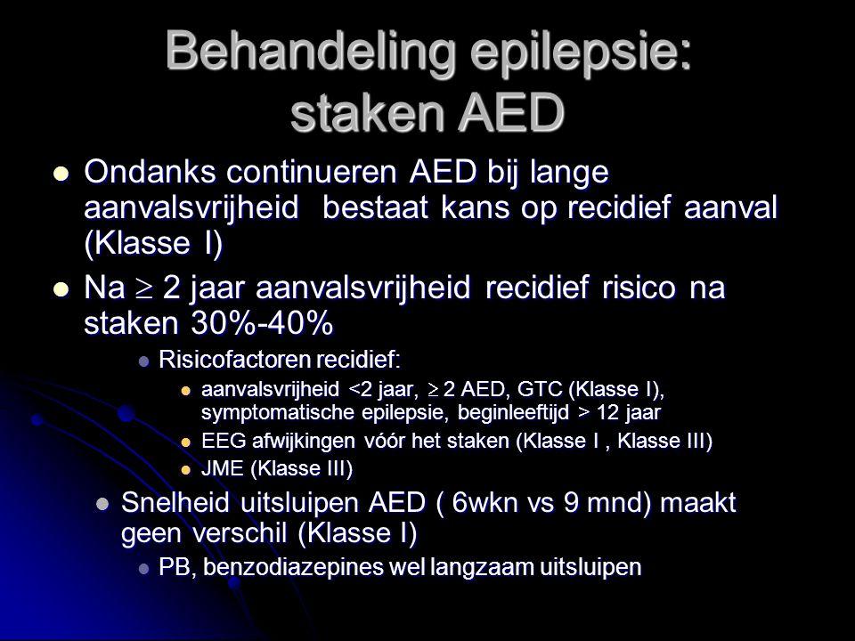 Ondanks continueren AED bij lange aanvalsvrijheid bestaat kans op recidief aanval (Klasse I) Ondanks continueren AED bij lange aanvalsvrijheid bestaat