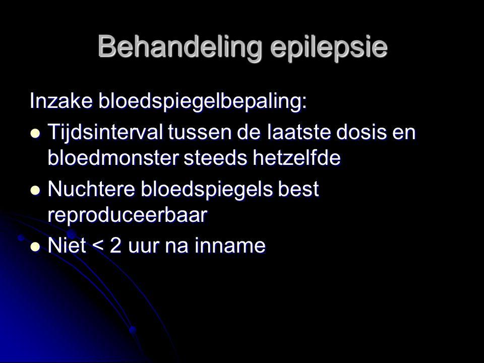 Inzake bloedspiegelbepaling: Tijdsinterval tussen de laatste dosis en bloedmonster steeds hetzelfde Tijdsinterval tussen de laatste dosis en bloedmonster steeds hetzelfde Nuchtere bloedspiegels best reproduceerbaar Nuchtere bloedspiegels best reproduceerbaar Niet < 2 uur na inname Niet < 2 uur na inname Behandeling epilepsie