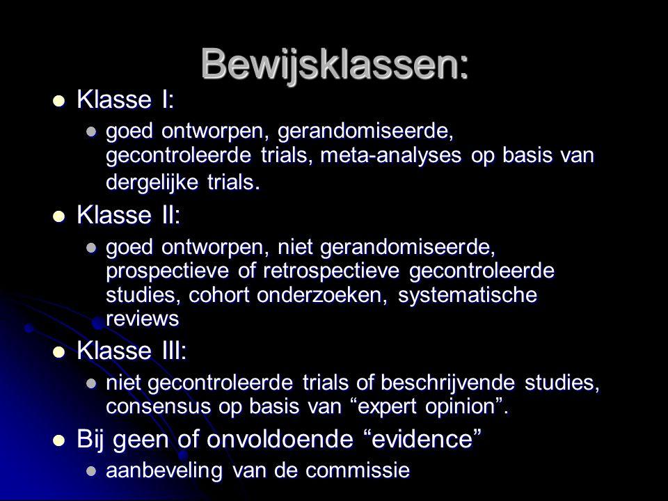 Bewijsklassen: Klasse I: Klasse I: goed ontworpen, gerandomiseerde, gecontroleerde trials, meta-analyses op basis van dergelijke trials. goed ontworpe