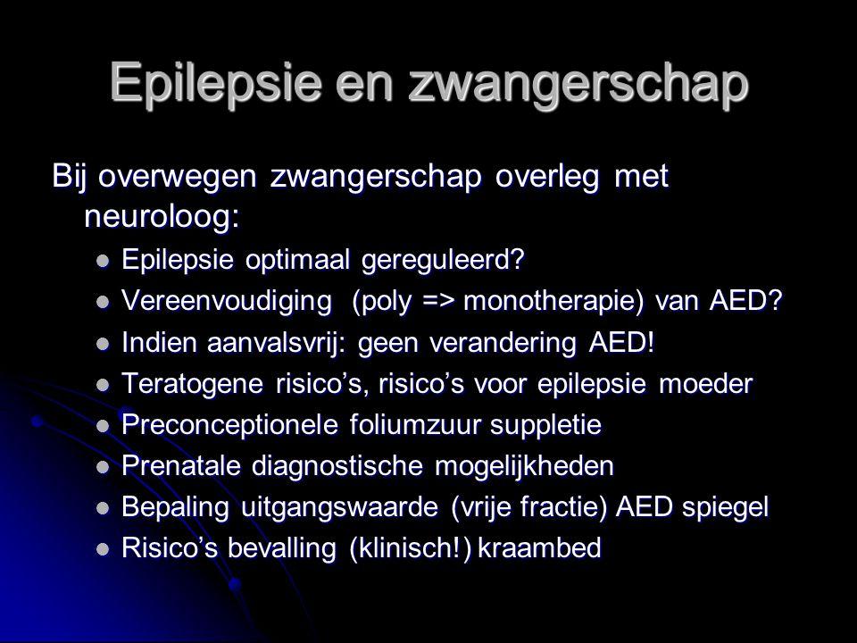 Bij overwegen zwangerschap overleg met neuroloog: Epilepsie optimaal gereguleerd? Epilepsie optimaal gereguleerd? Vereenvoudiging (poly => monotherapi