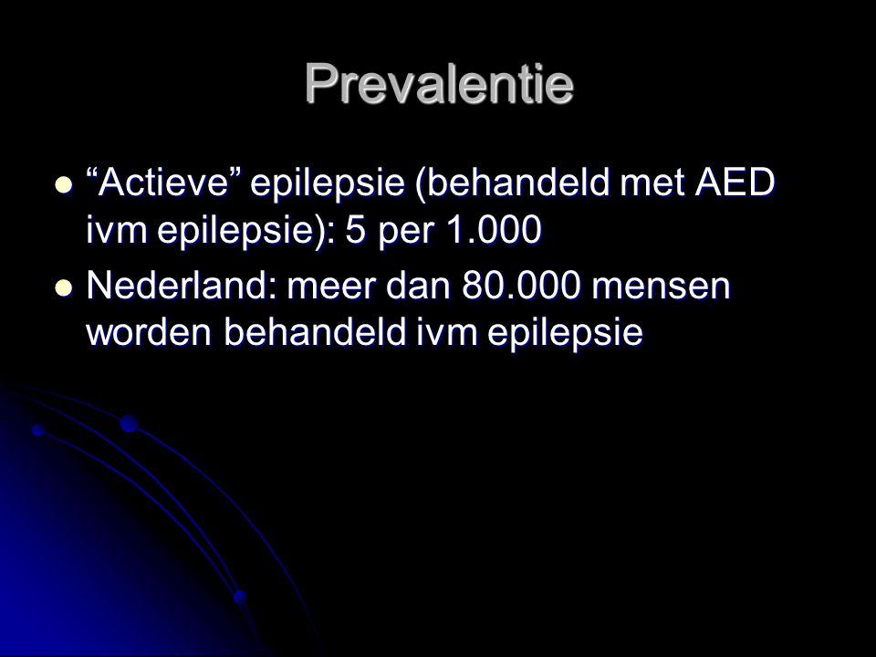 Prevalentie Actieve epilepsie (behandeld met AED ivm epilepsie): 5 per 1.000 Actieve epilepsie (behandeld met AED ivm epilepsie): 5 per 1.000 Nederland: meer dan 80.000 mensen worden behandeld ivm epilepsie Nederland: meer dan 80.000 mensen worden behandeld ivm epilepsie
